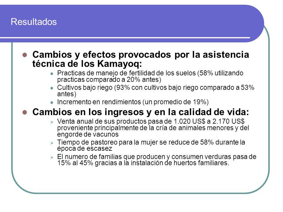 Cambios y efectos provocados por la asistencia técnica de los Kamayoq: