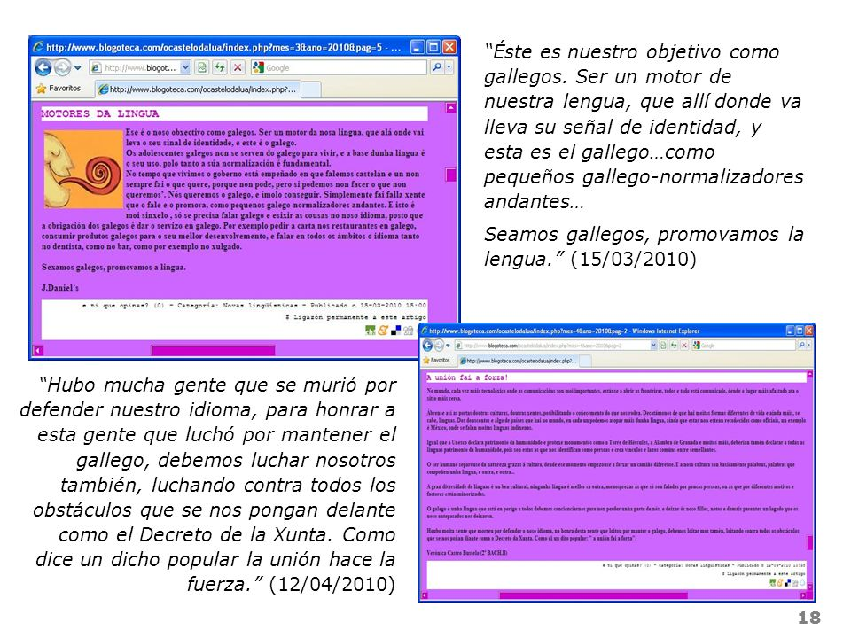 Seamos gallegos, promovamos la lengua. (15/03/2010)