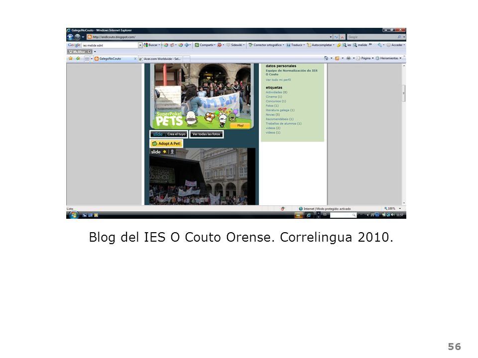 Blog del IES O Couto Orense. Correlingua 2010.