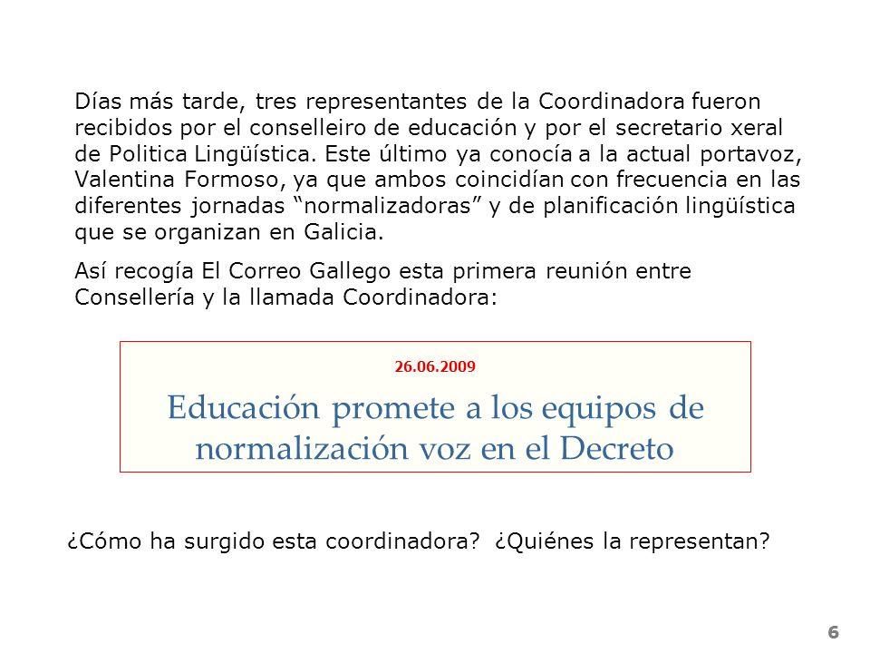 Educación promete a los equipos de normalización voz en el Decreto