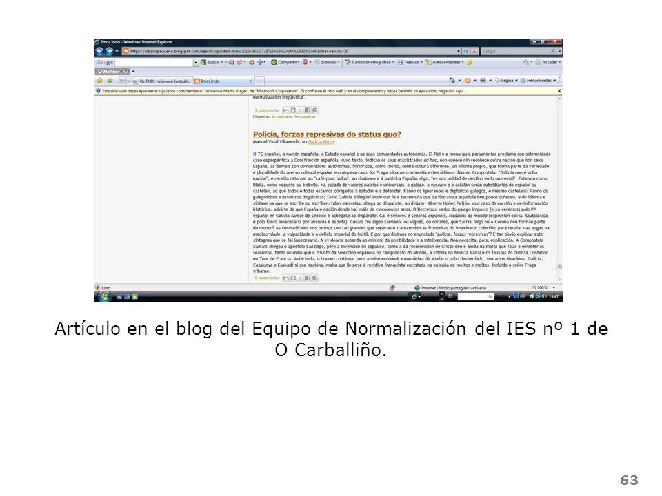 Artículo en el blog del Equipo de Normalización del IES nº 1 de O Carballiño.