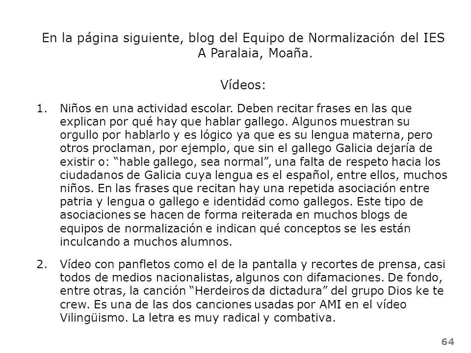 En la página siguiente, blog del Equipo de Normalización del IES A Paralaia, Moaña.