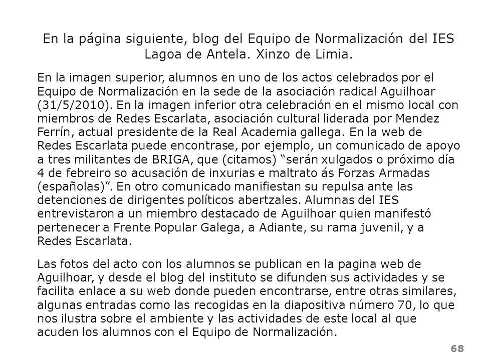 En la página siguiente, blog del Equipo de Normalización del IES Lagoa de Antela. Xinzo de Limia.