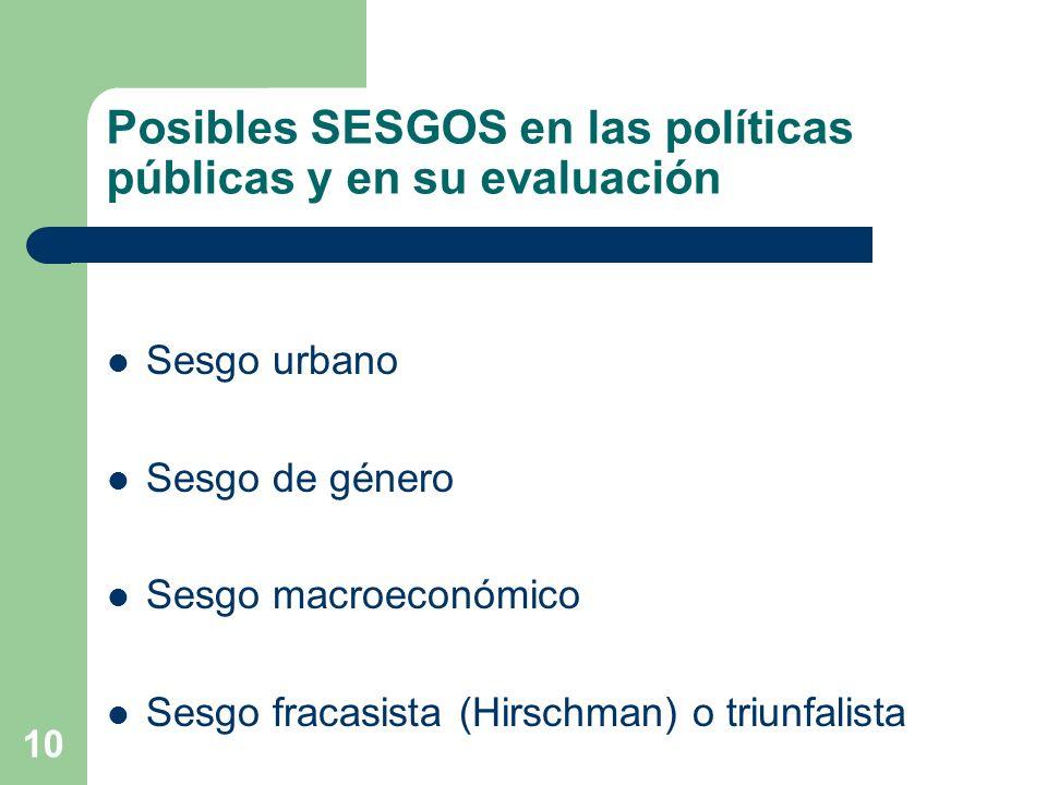 Posibles SESGOS en las políticas públicas y en su evaluación