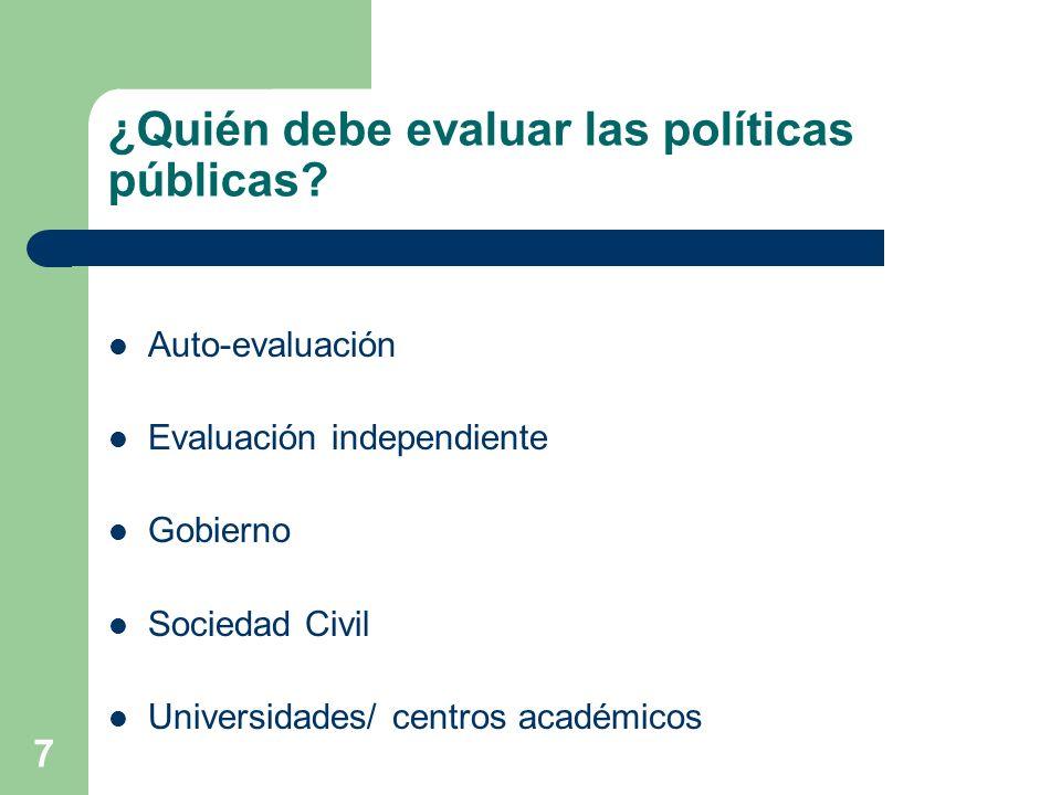 ¿Quién debe evaluar las políticas públicas