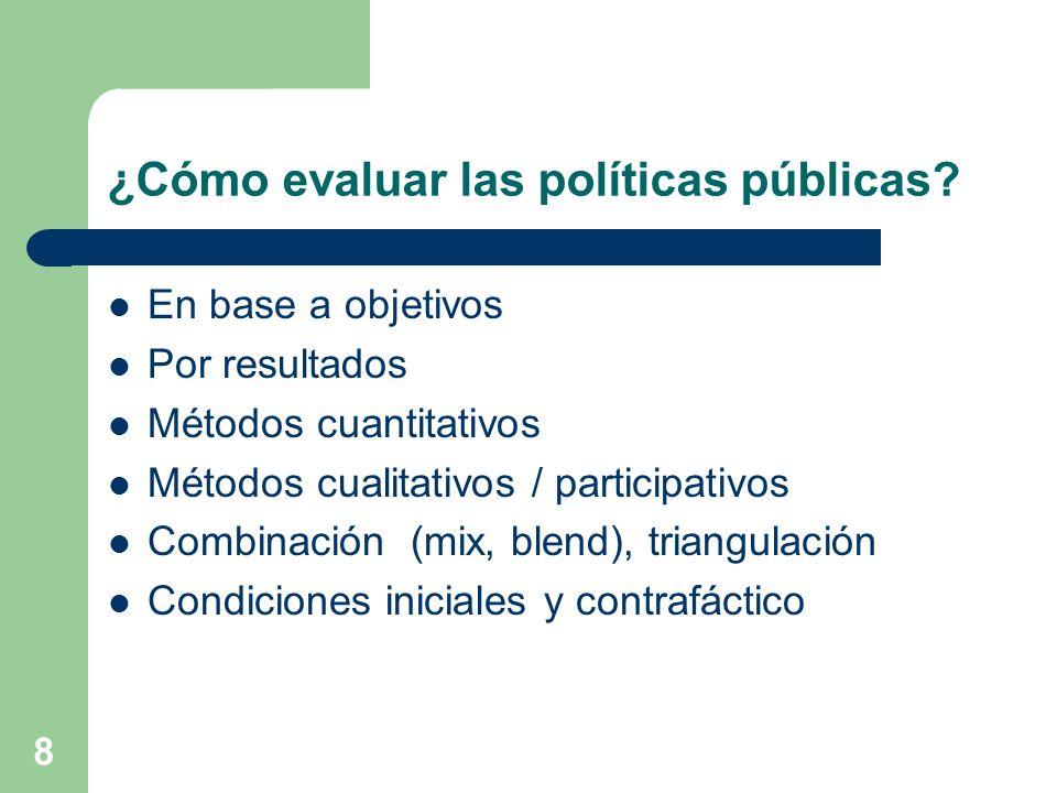 ¿Cómo evaluar las políticas públicas
