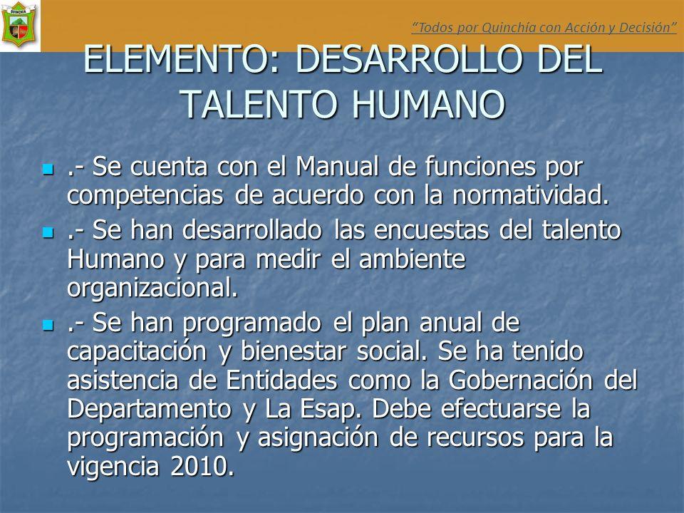 ELEMENTO: DESARROLLO DEL TALENTO HUMANO