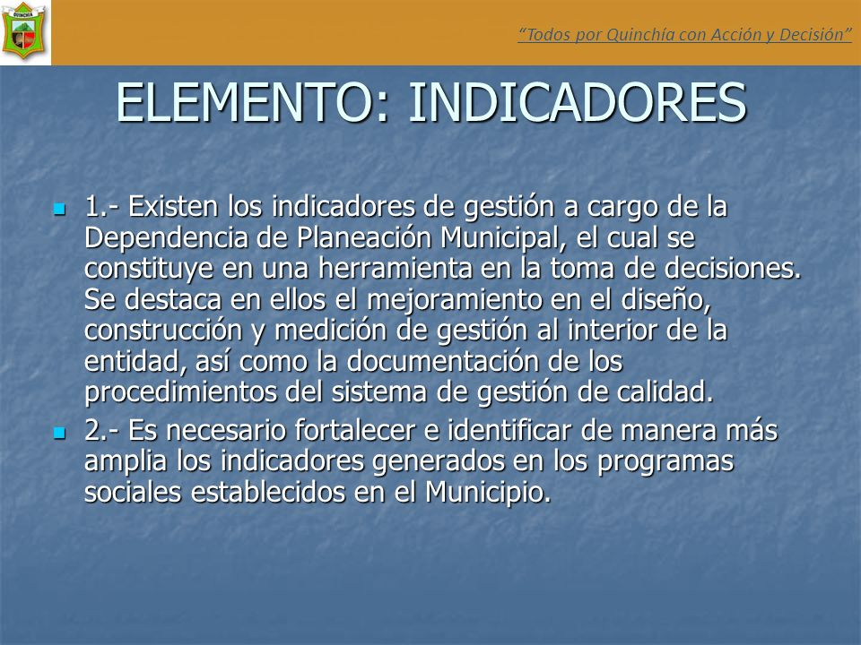 ELEMENTO: INDICADORES