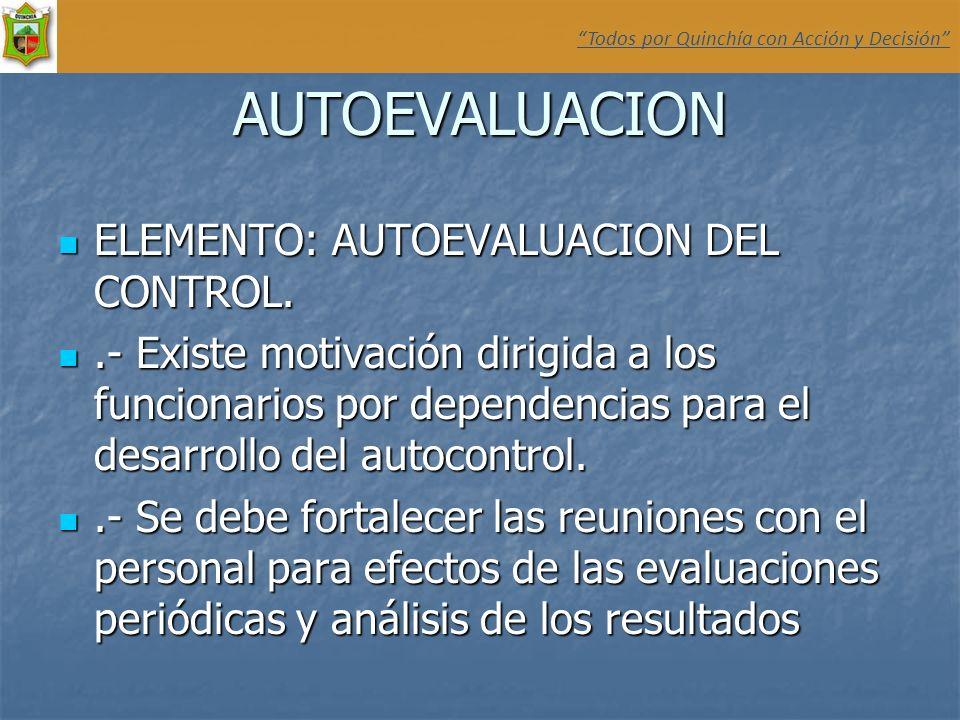 AUTOEVALUACION ELEMENTO: AUTOEVALUACION DEL CONTROL.