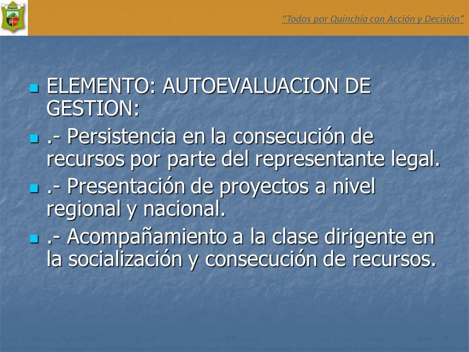 ELEMENTO: AUTOEVALUACION DE GESTION: