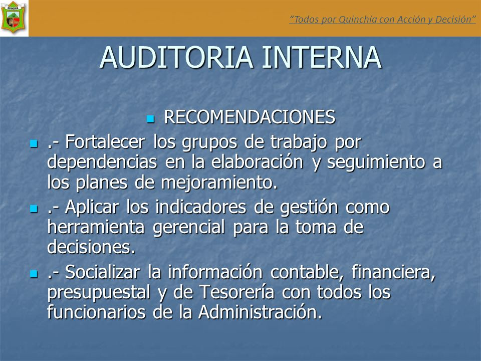 AUDITORIA INTERNA RECOMENDACIONES