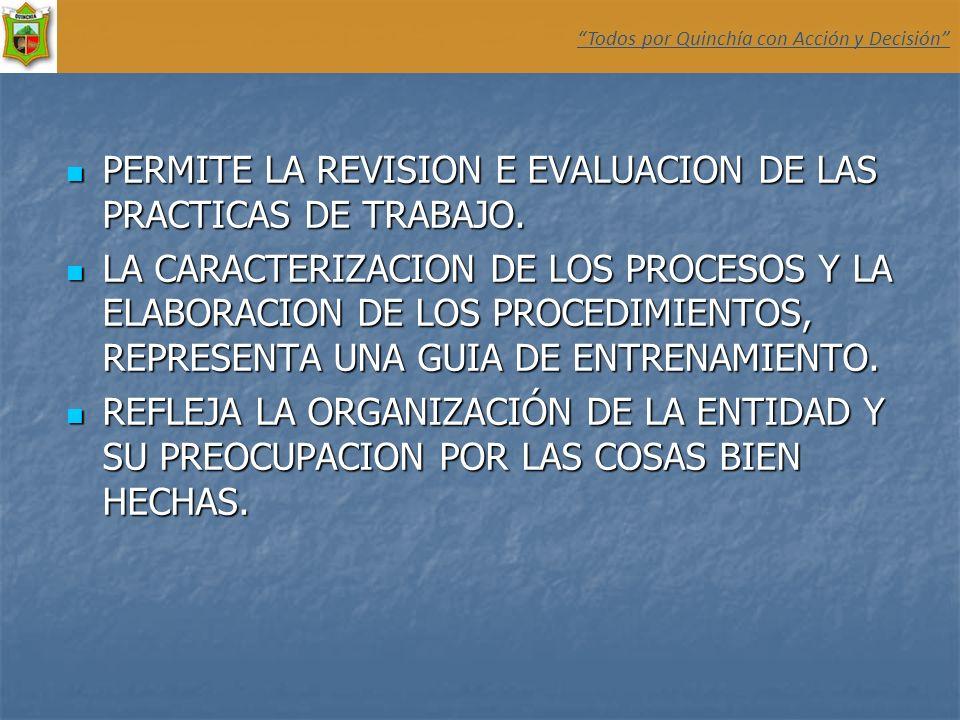 PERMITE LA REVISION E EVALUACION DE LAS PRACTICAS DE TRABAJO.