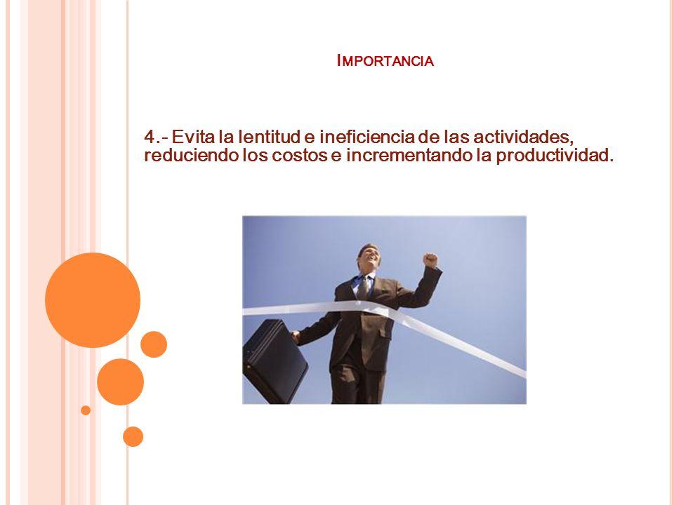 Importancia 4.- Evita la lentitud e ineficiencia de las actividades, reduciendo los costos e incrementando la productividad.