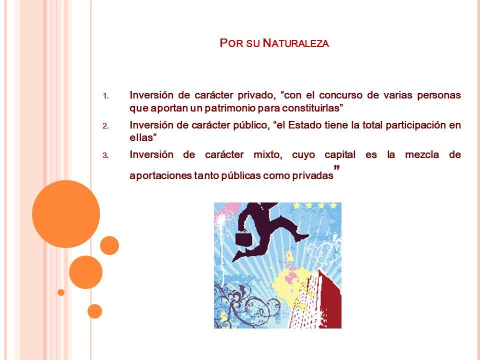 Por su Naturaleza Inversión de carácter privado, con el concurso de varias personas que aportan un patrimonio para constituirlas