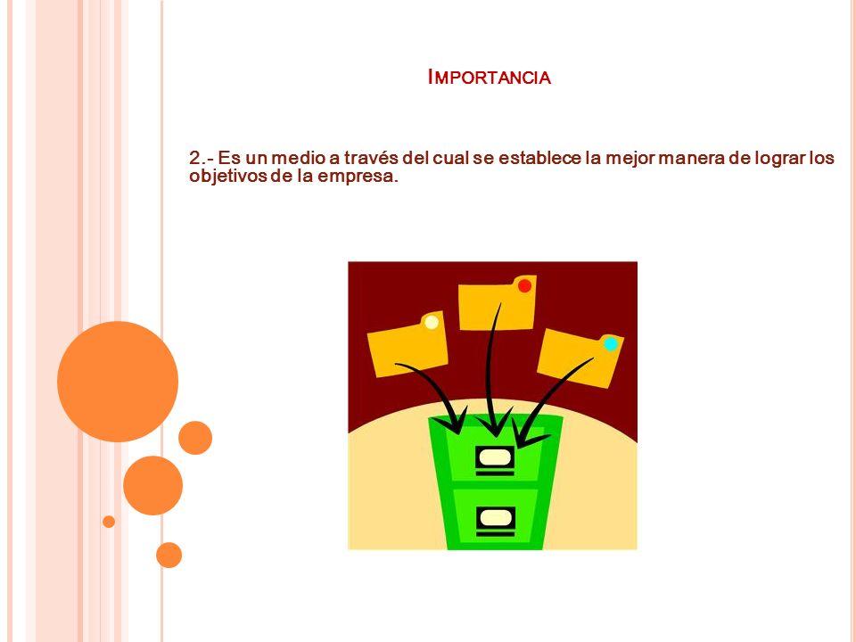 Importancia 2.- Es un medio a través del cual se establece la mejor manera de lograr los objetivos de la empresa.
