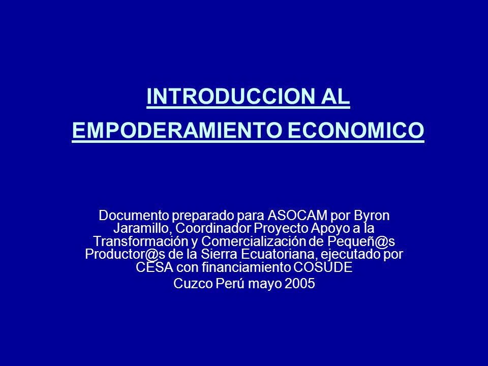 INTRODUCCION AL EMPODERAMIENTO ECONOMICO