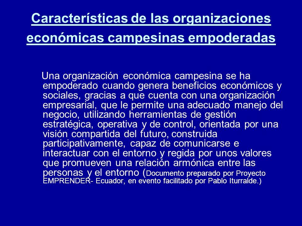 Características de las organizaciones económicas campesinas empoderadas