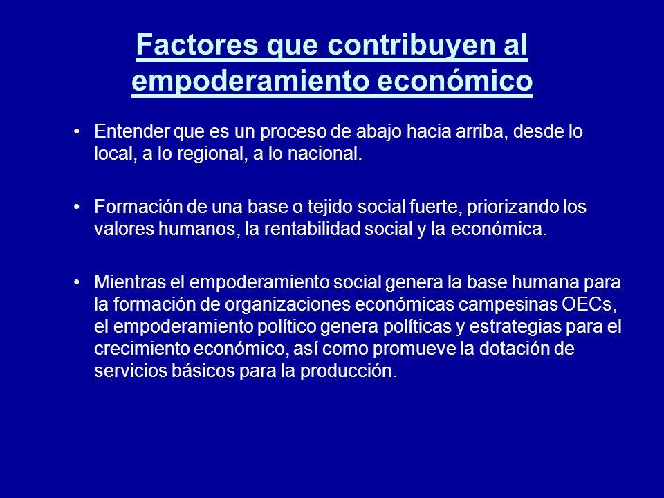 Factores que contribuyen al empoderamiento económico