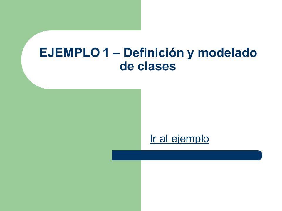EJEMPLO 1 – Definición y modelado de clases