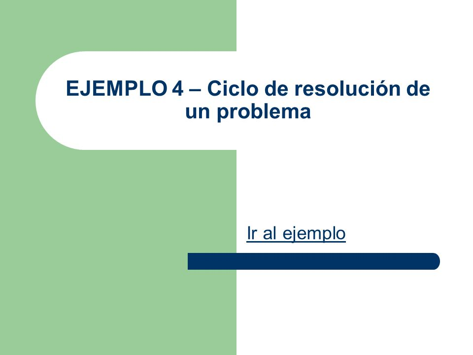 EJEMPLO 4 – Ciclo de resolución de un problema