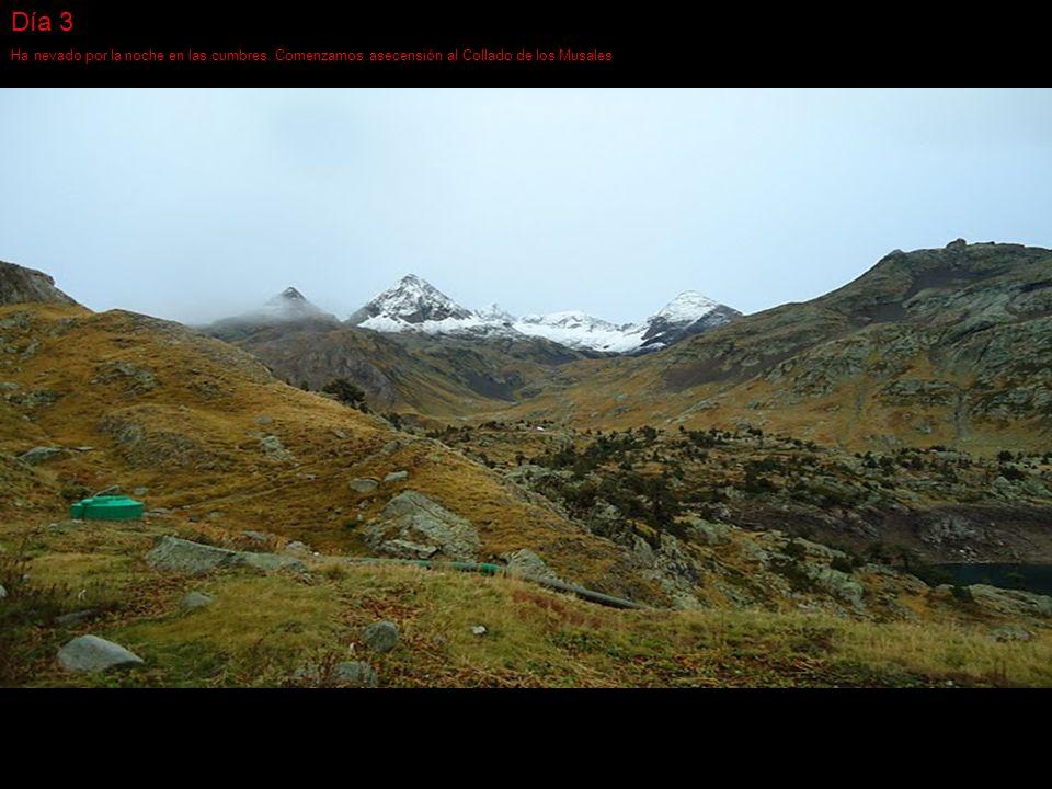 Día 3 Ha nevado por la noche en las cumbres. Comenzamos asecensión al Collado de los Musales
