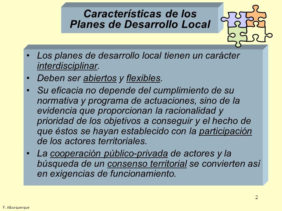 Características de los Planes de Desarrollo Local