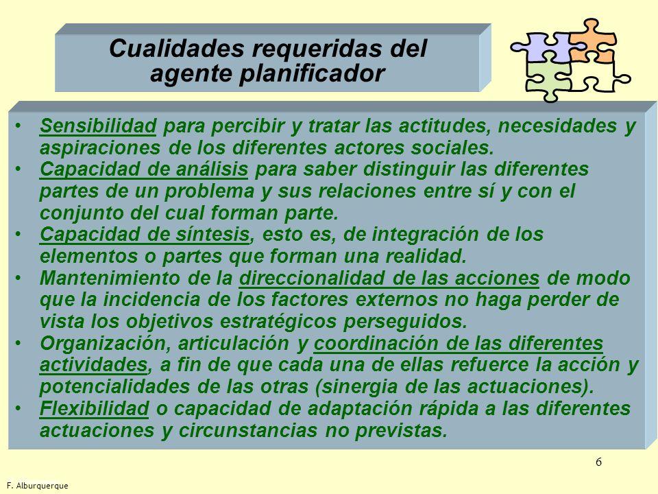 Cualidades requeridas del agente planificador