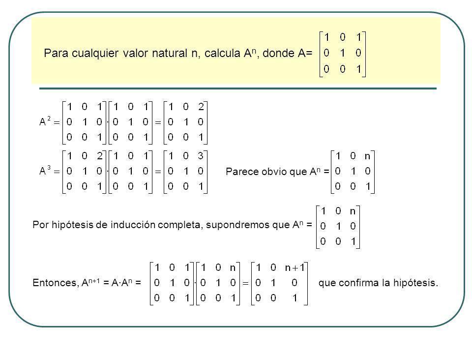Para cualquier valor natural n, calcula An, donde A=
