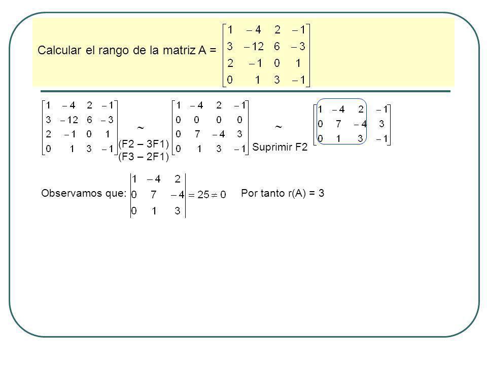   Calcular el rango de la matriz A = (F2 – 3F1) (F3 – 2F1)