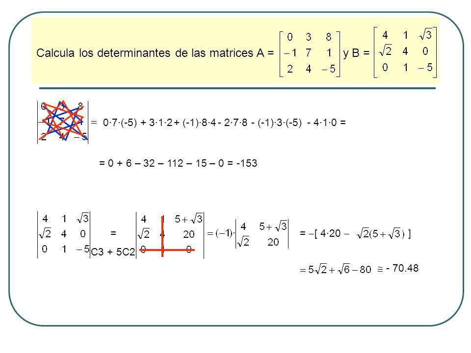 Calcula los determinantes de las matrices A = y B =