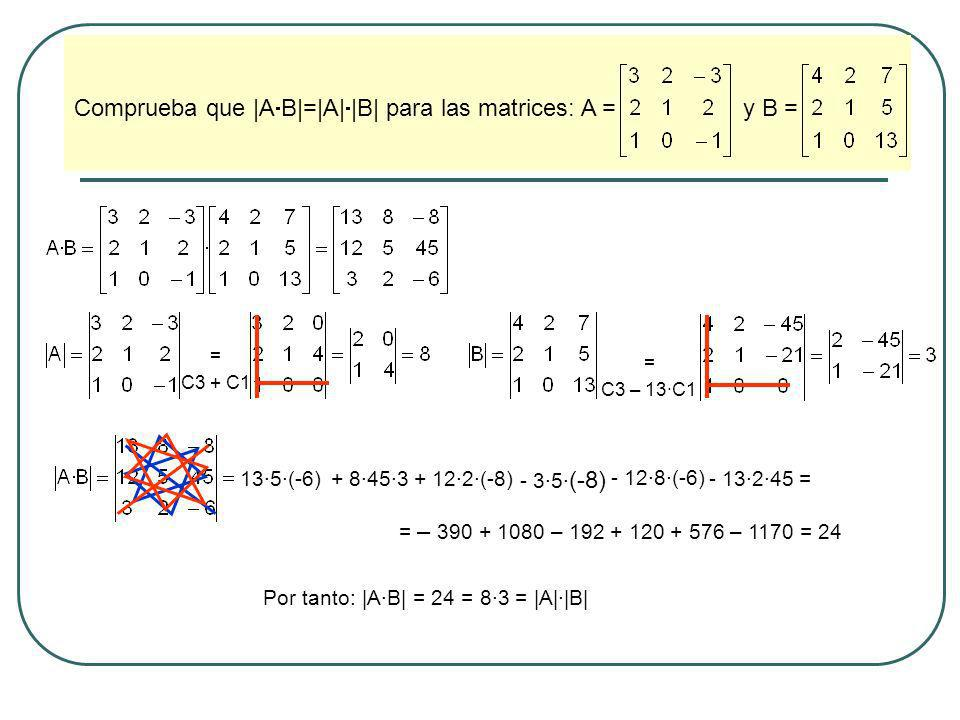 Comprueba que |AB|=|A||B| para las matrices: A = y B =