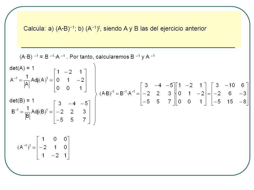 Calcula: a) (AB)1; b) (A1)t, siendo A y B las del ejercicio anterior