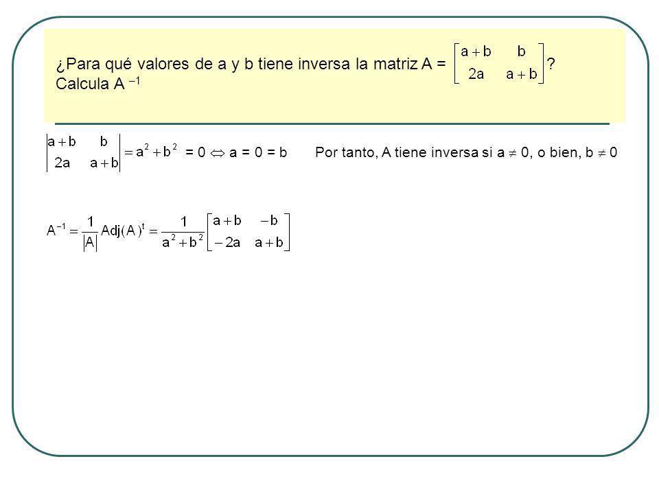 ¿Para qué valores de a y b tiene inversa la matriz A = Calcula A –1