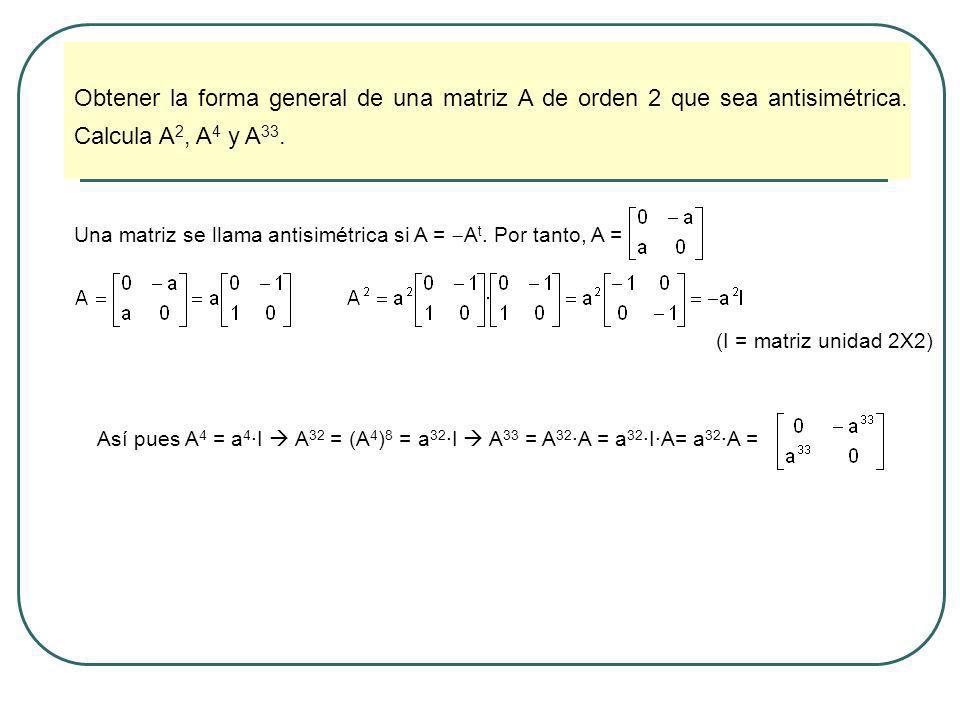 Obtener la forma general de una matriz A de orden 2 que sea antisimétrica. Calcula A2, A4 y A33.