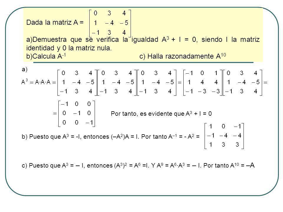 Calcula A-1 c) Halla razonadamente A10