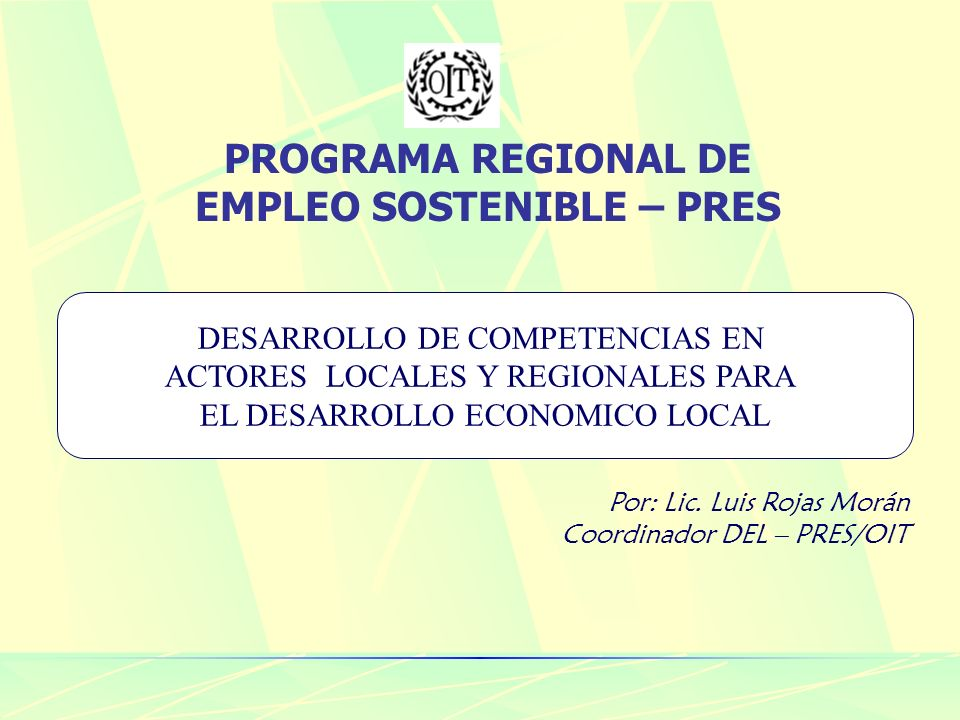 PROGRAMA REGIONAL DE EMPLEO SOSTENIBLE – PRES