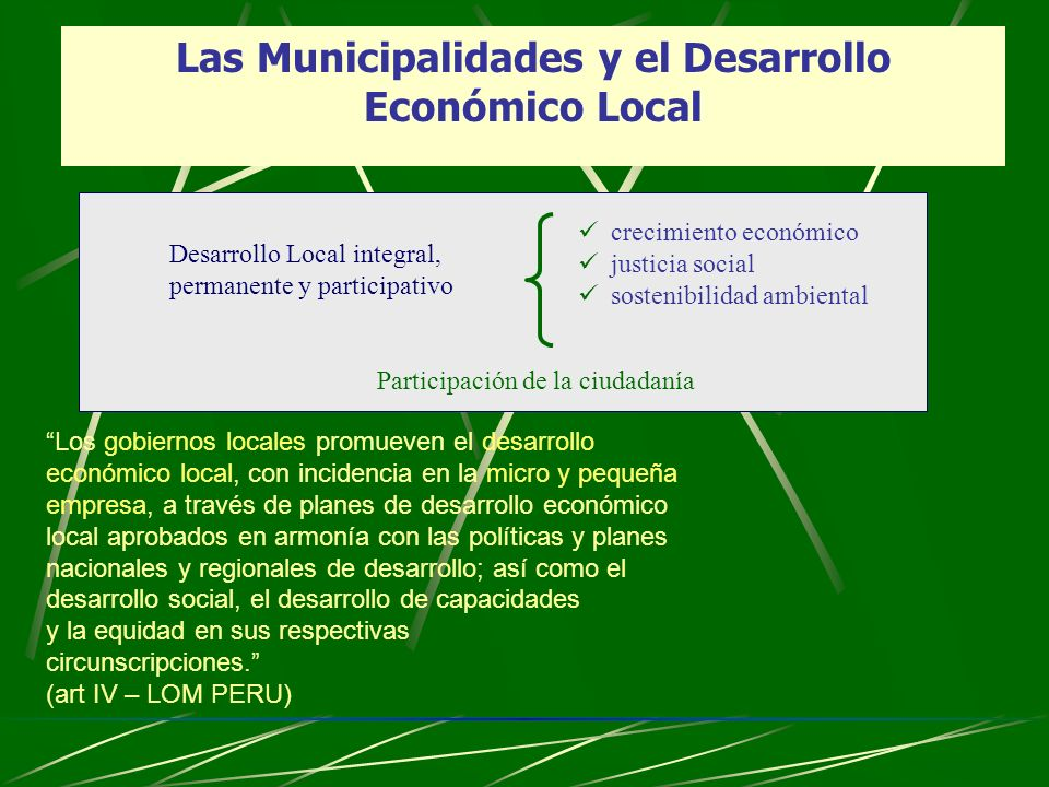 Las Municipalidades y el Desarrollo Económico Local