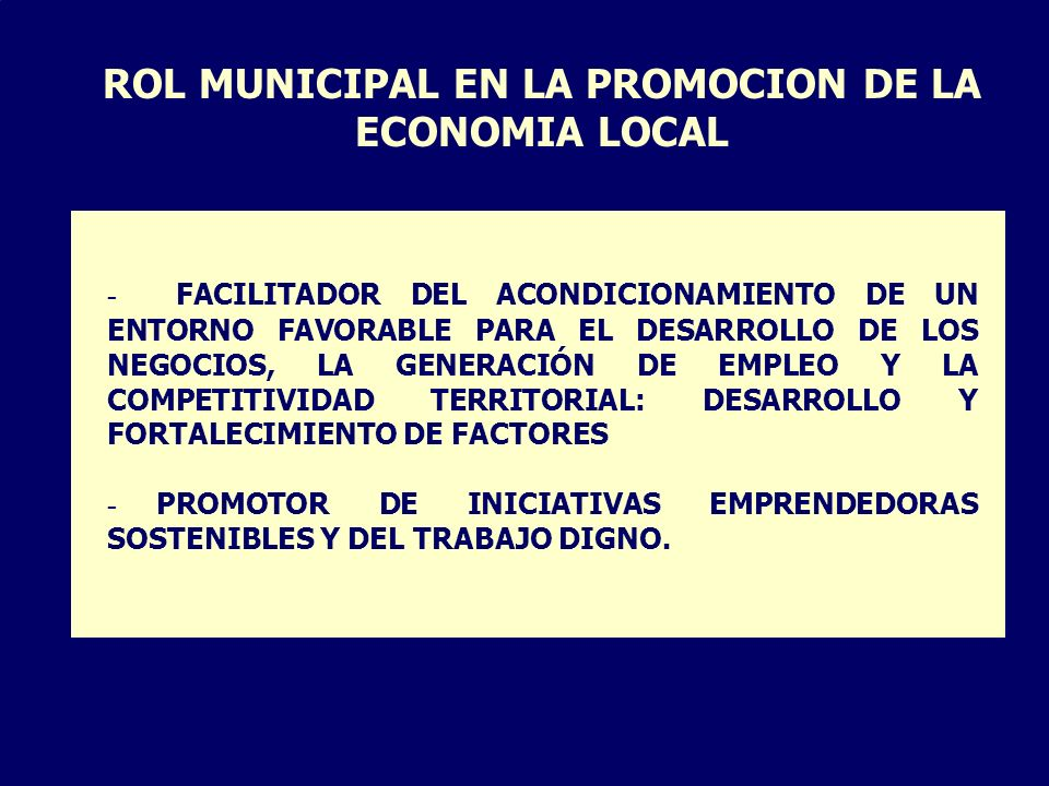 ROL MUNICIPAL EN LA PROMOCION DE LA ECONOMIA LOCAL