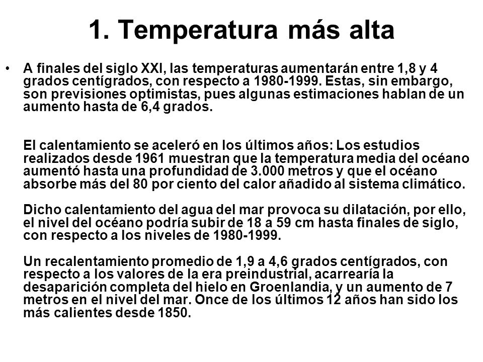1. Temperatura más alta
