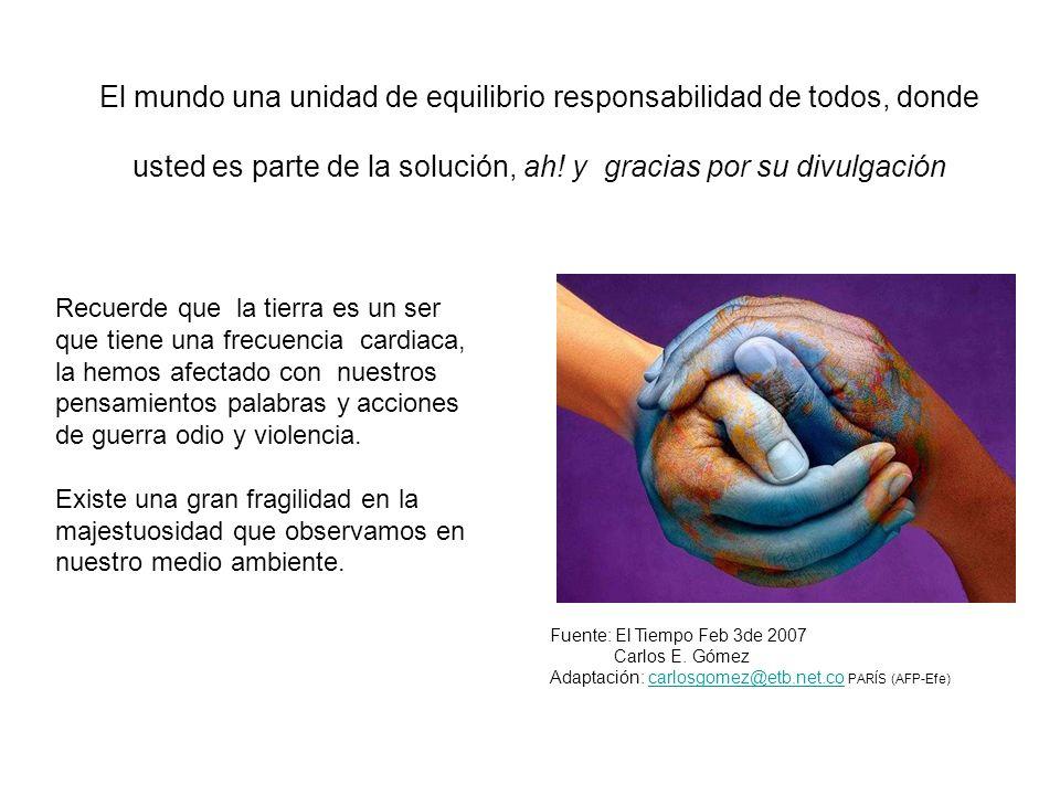 El mundo una unidad de equilibrio responsabilidad de todos, donde usted es parte de la solución, ah! y gracias por su divulgación