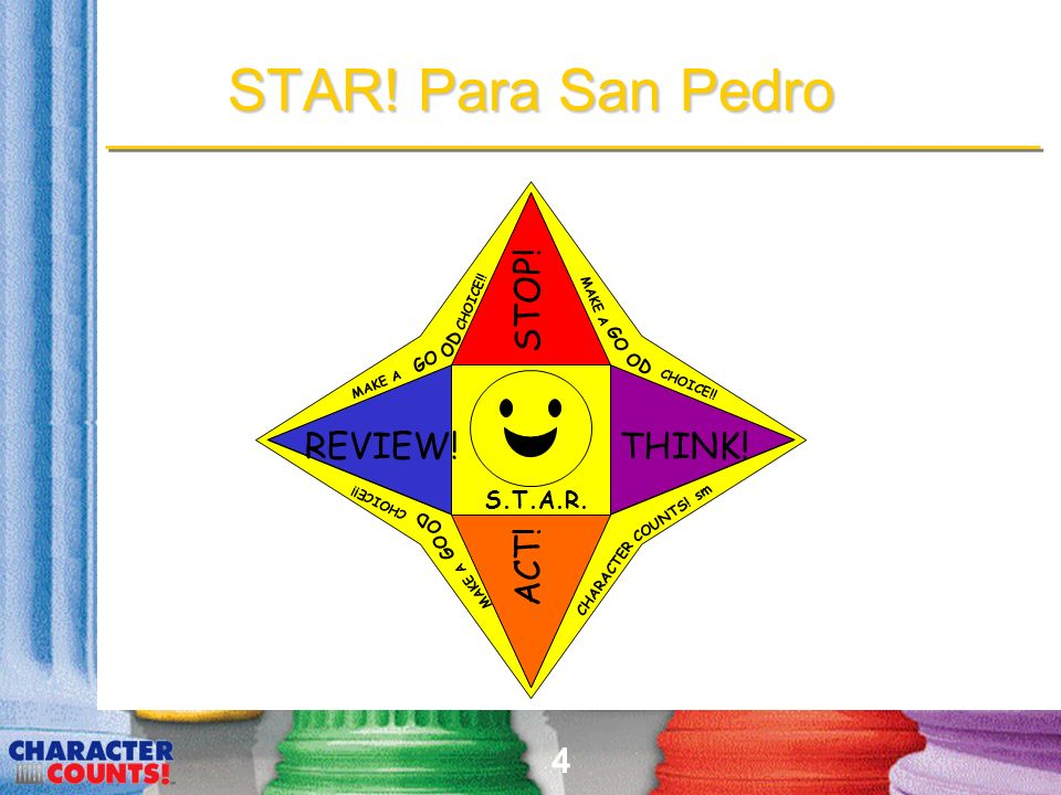 STAR! Para San Pedro STOP! THINK! ACT! REVIEW! S.T.A.R. OD GO