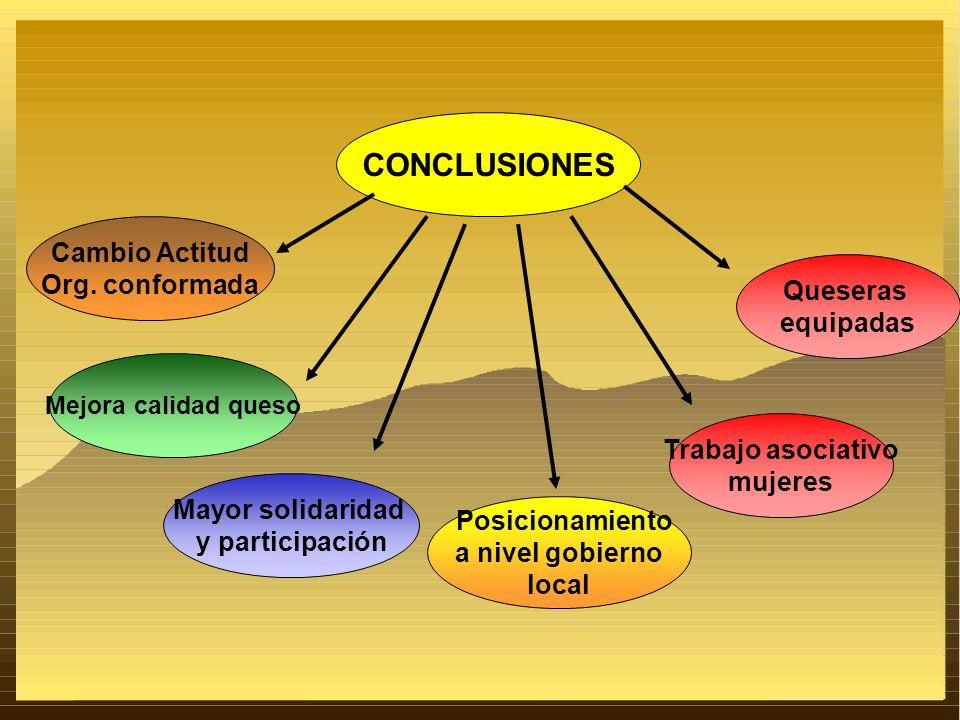 CONCLUSIONES Cambio Actitud Org. conformada Queseras equipadas