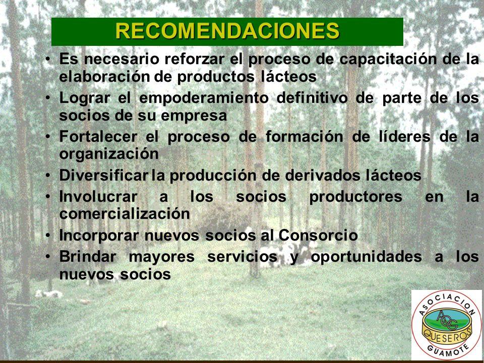 RECOMENDACIONES Es necesario reforzar el proceso de capacitación de la elaboración de productos lácteos.