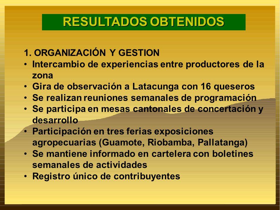 RESULTADOS OBTENIDOS 1. ORGANIZACIÓN Y GESTION