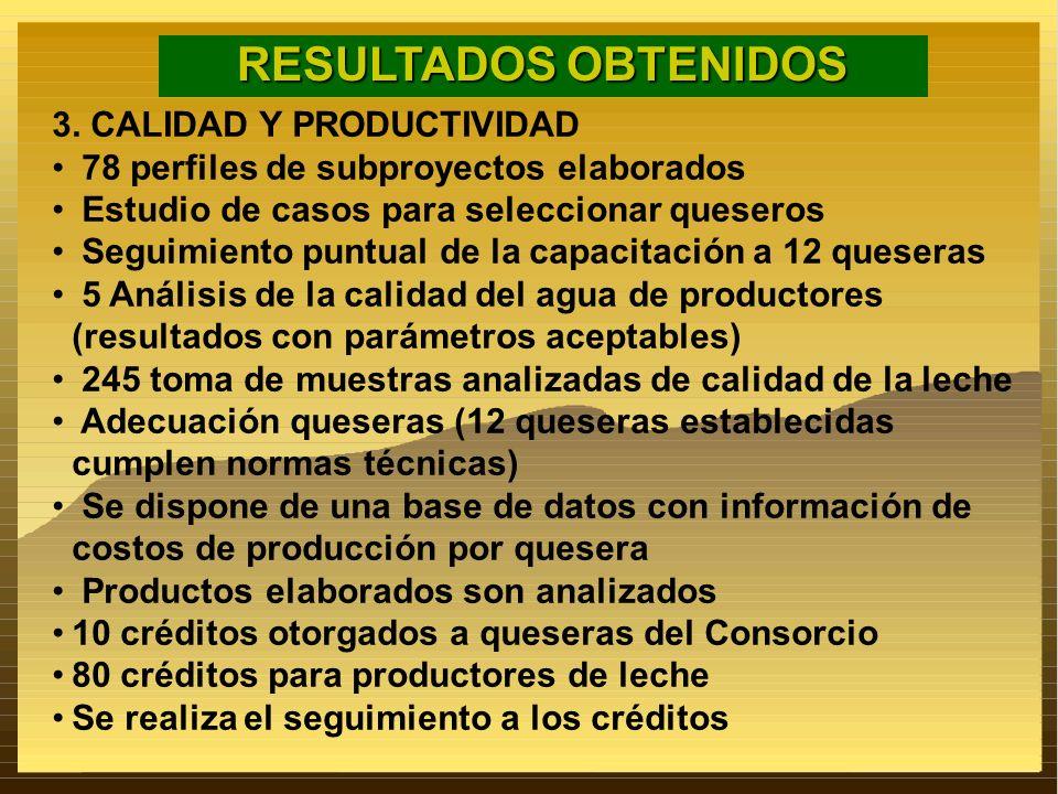 RESULTADOS OBTENIDOS 3. CALIDAD Y PRODUCTIVIDAD