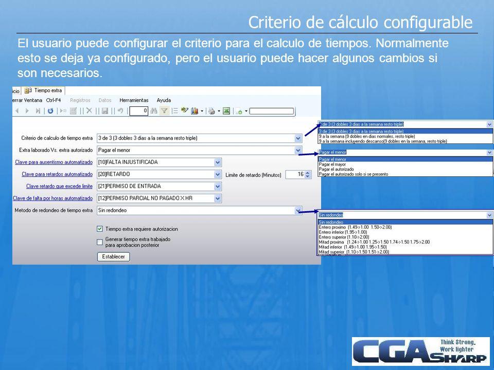 Criterio de cálculo configurable