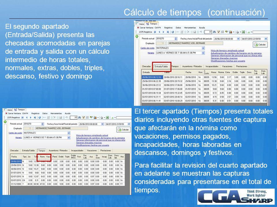 Cálculo de tiempos (continuación)