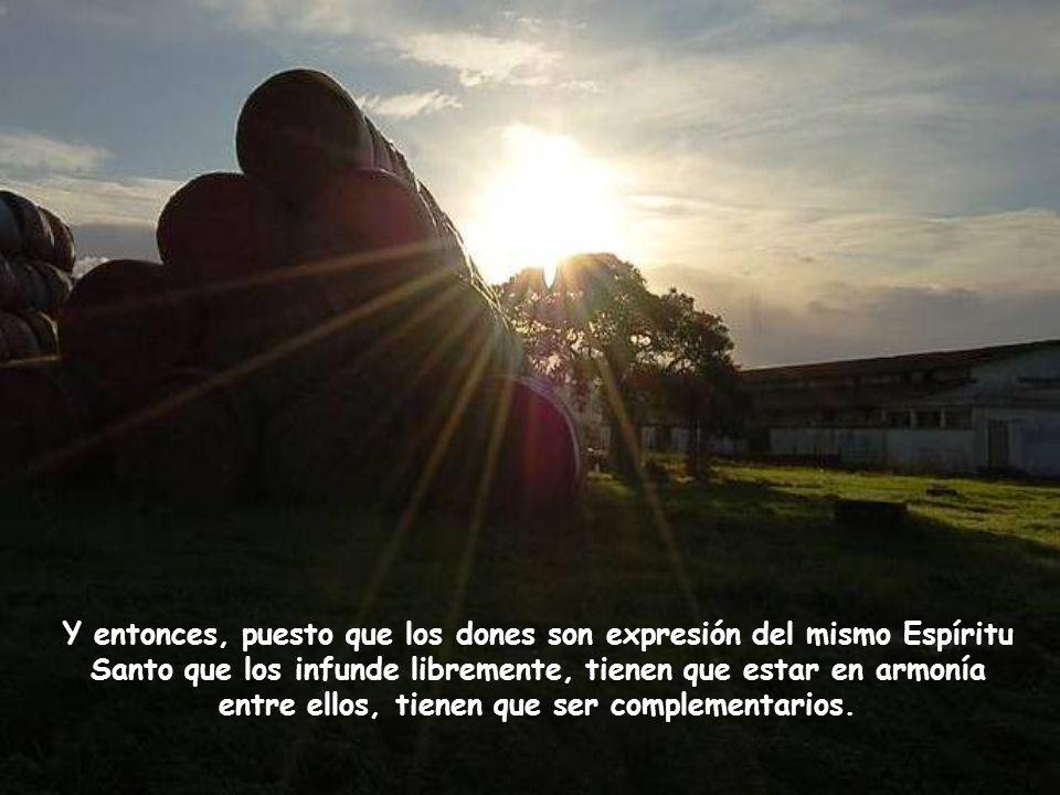 Y entonces, puesto que los dones son expresión del mismo Espíritu Santo que los infunde libremente, tienen que estar en armonía entre ellos, tienen que ser complementarios.