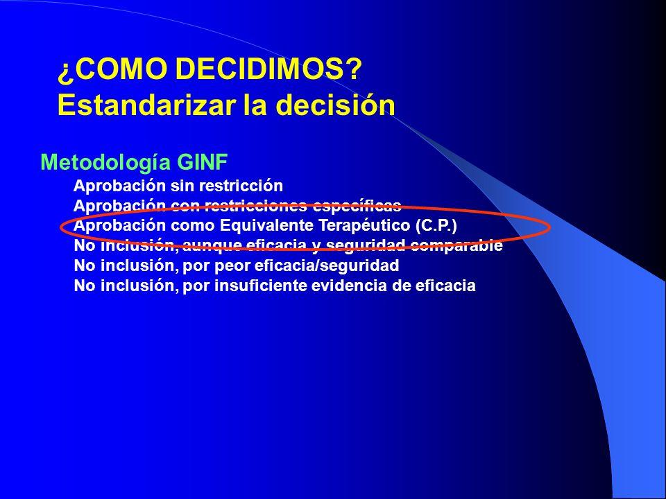 ¿COMO DECIDIMOS Estandarizar la decisión