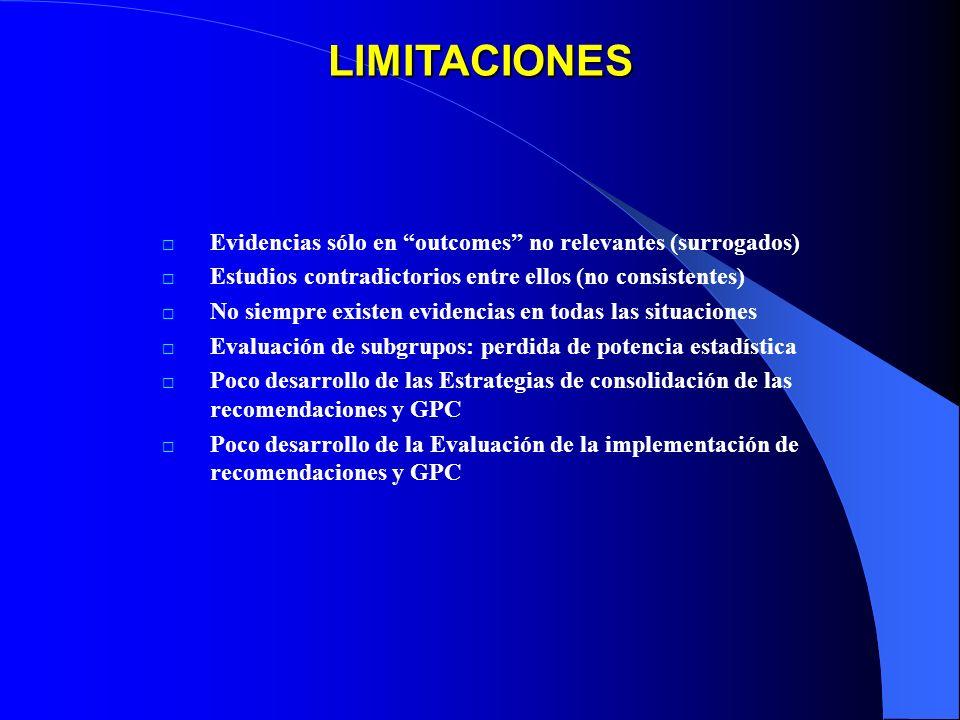 LIMITACIONES Evidencias sólo en outcomes no relevantes (surrogados)